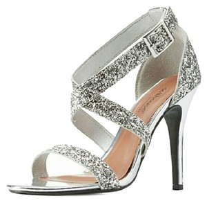 Dollhouse Glitter Heels Prom Wedding silver Sandals