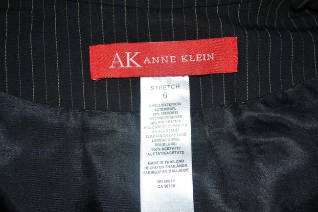 Anne Klein Anne Klein Pin Striped Black/Gray Skirt Suit Size 6
