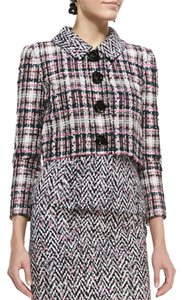Oscar de la Renta Asymmetric Draped Tweed Dress/ Four Button Cropped Tweed Jacket