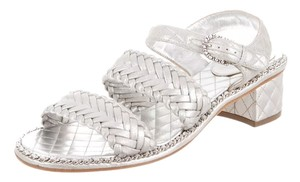 Chanel Classic Leather Cc Silver Sandals