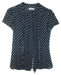 Ann Taylor LOFT Ruffle Top Black and White Polka Dot