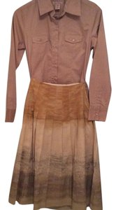 Isda & Co. Ombre Boho Office Work Theory Inspired Sophisticated Feminine Skirt Beige Tan Metallic Gold