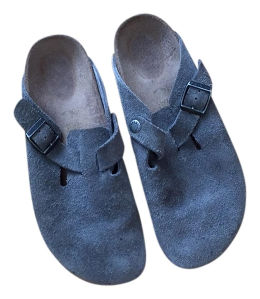 39e30bd4eed2c Grey Boston Suede Mules/Slides