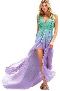 Mint Green Blue Lavender Ombre Maxi Dress by Victoria's Secret High Low