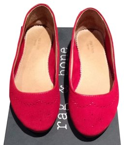 Rag & Bone Ballet Perforated Leather Red Suede Flats