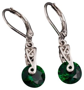 New Silver Tone Green Crystal Dangle Earrings J1870
