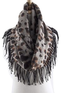 Other Leopard Infinity Fringe Scarf