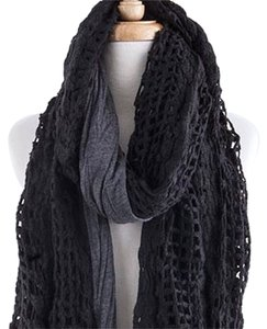 Long & Layered Crochet Scarf Black Gray