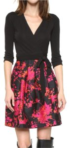 Diane von Furstenberg short dress Black/Floral Daze Large Pink Silk Wrap Classic Sexy on Tradesy