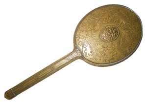 unknown Antique art deco brass hand mirror