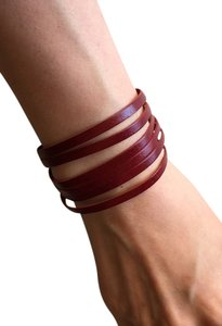 Nakamol Adjustable Leather Strips Cuff - Brick