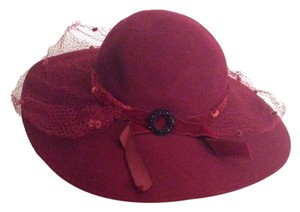 Georgi Vintage Georgi- Splendide burgundy Felt Wool wide Brim Hat