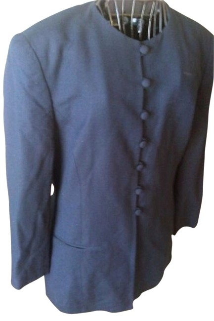 Jones New York 90s 1990s Navy Blue Preppy Classic Career 10 Office Polyester Poly Linen Padded Pads Captain Classy Suit Business navy blue Blazer