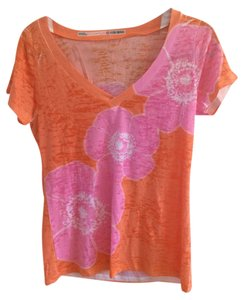 Before + Again Floral Burnout T Shirt Orange and Pink