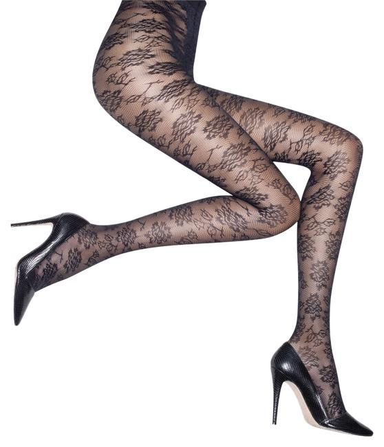 Item - Black Floral Lace One Size Sealed Made It Italy Sheer Neiman Marcus Hosiery