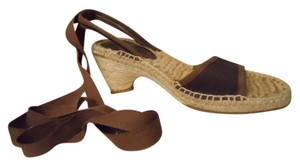 Antonio Melani Ankle Wrap Espadrille Wedge brown Sandals