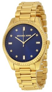 Michael Kors Blue Dial Gold tone Stainless Steel Swarovski Crystal Designer Watch