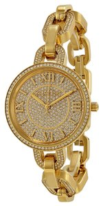 Michael Kors Crystal Pave Encrusted Gold Tone Twist Chain Designer Ladies Watch