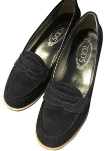 Tod's Loafer Oxfords 6.5m Navy Suede Flats