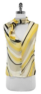 Escada Yellow Grey Black White Silk Top