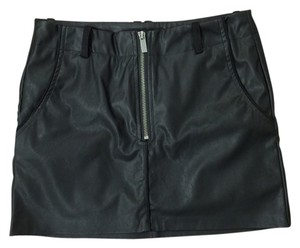 Zara Leather Faux Leather Zippered Edgy Mini Skirt Black