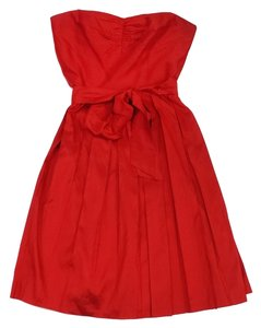 Trina Turk short dress Red Silk Strapless on Tradesy