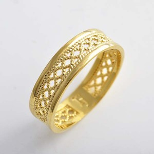 Carved Wide Unisex Gold Band Free Shipping