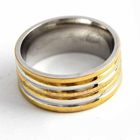Silver/Gold Bogo Free Two Tone Stainless Ring Free Shipping Men's Wedding Band Image 2