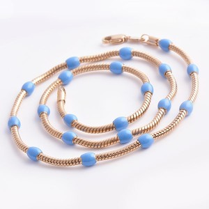 Rose Gold & Turqoise Necklace Free Shipping