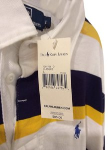Ralph Lauren Button Down Shirt White, Navy & Yellow