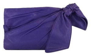 Valentino Purple Leather Oversized Bow Clutch
