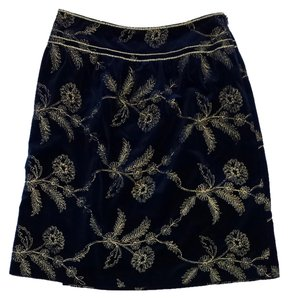 Cynthia Steffe Blue Gold Velvet Embroidered Skirt