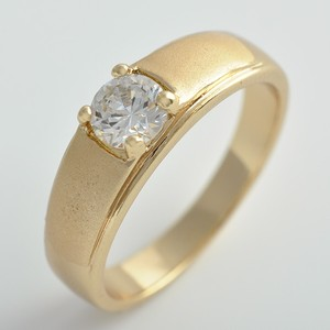 Brushed Gold Solitaire Engagement Ring Free Shipping