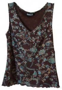 Biyaycda Believe Top Brown w/Turquoise Print