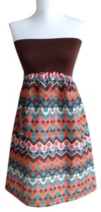 willa short dress Convertible Strapless Printed Colorful Orange on Tradesy
