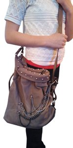 Hype Leather Studded Chains Edgy Convertible Cross-body Hobo Bag