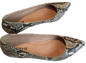 Atwell Snakeskin Leather White Reptile Classic Black, brown, Grey, Ivory Flats