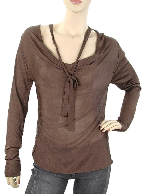 Twin-Set by Simona Barbieri Knit Cowlneck Rayon Tie Sweater