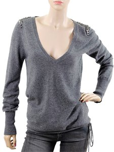 Zadig & Voltaire Studded Cashmere V-neck Sweater