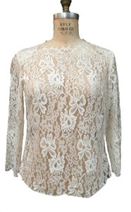 Other Chantilly Lace Chantilly Lace Lace Boat Neck With Sleeves Top IVORY