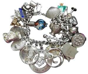 Other Big Vintage Sterling Silver Charm Bracelet 1950s - 1960s 35 Charms