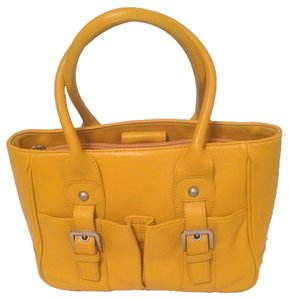 Audrey Brooke Genuine Leather Tote in Yellow