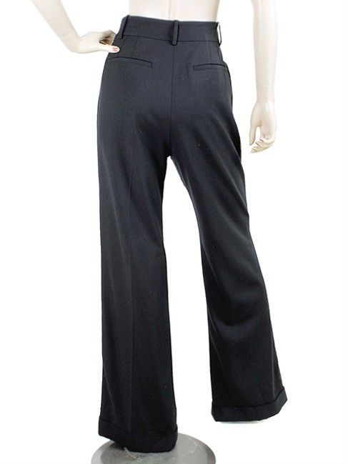 Alexander Wang Wool Pleated Nylon Wide Leg Pants Black