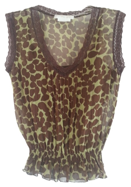 To the Max Sheer Lace Trim Camisole Top Green/Brown