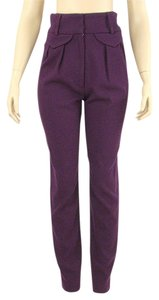 Catherine Holstein Pleated Wool Skinny Skinny Pants Purple