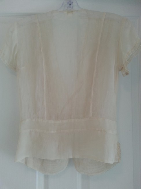Matty M Vintage Sheer Chiffon Lace Trim Top Ivory