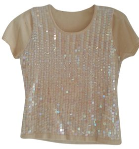 Sequin Sparkle T Shirt Ivory