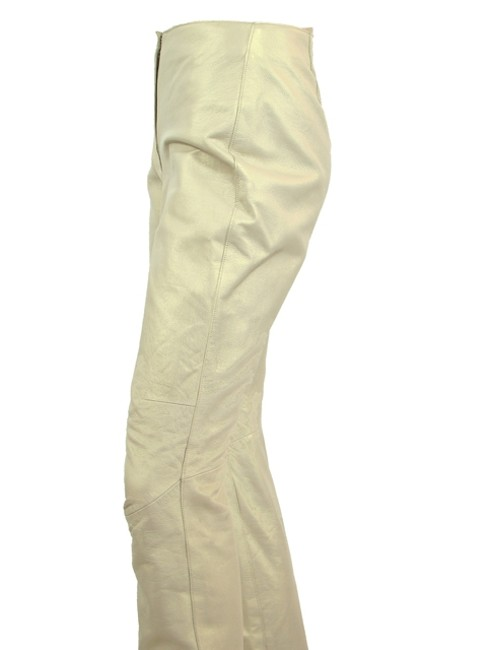DKNY Tapered Leather Sparkle Skinny Straight Pants Gold