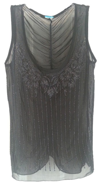 Other Beaded Sheer Top Black