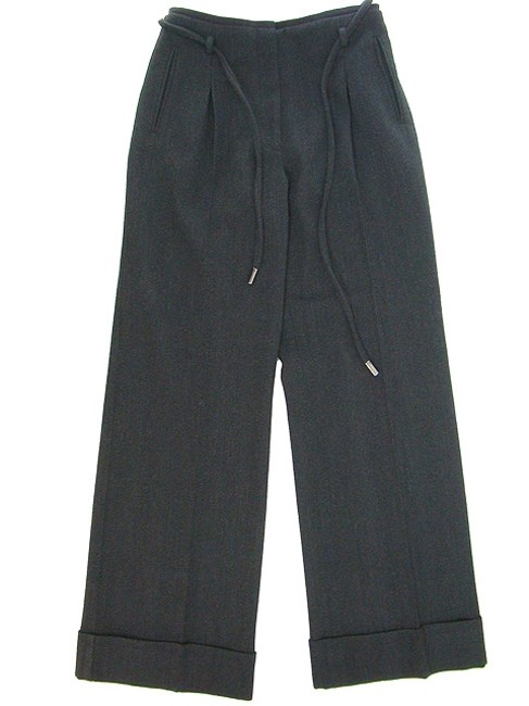 Dolce&Gabbana Wool Pleated Wide Leg Pants Black